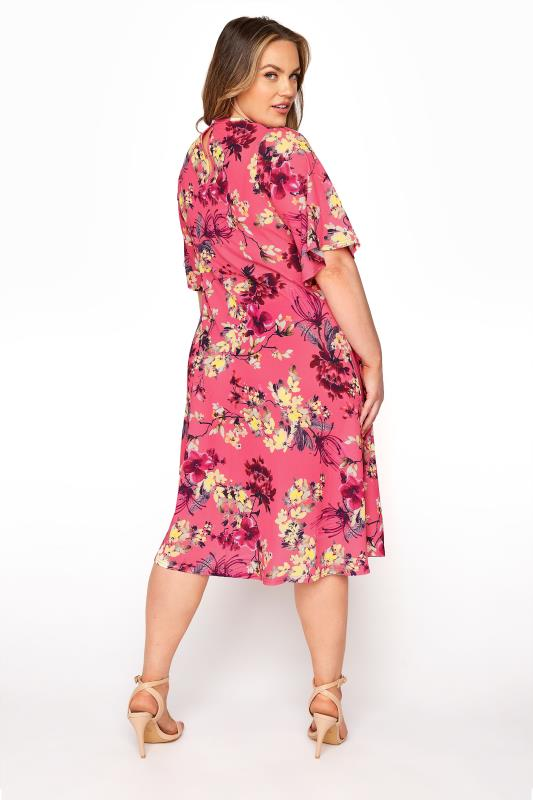 YOURS LONDON Pink Floral Oriental Dress_C.jpg