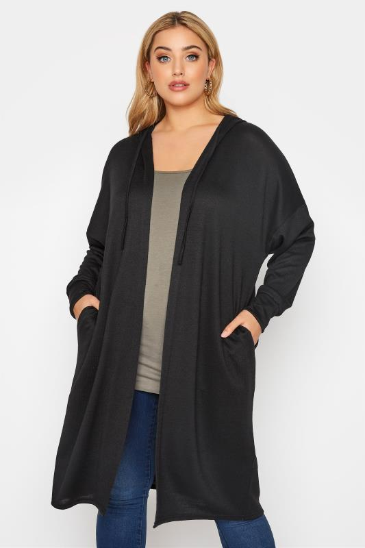 Plus Size  Black Hooded Knitted Cardigan