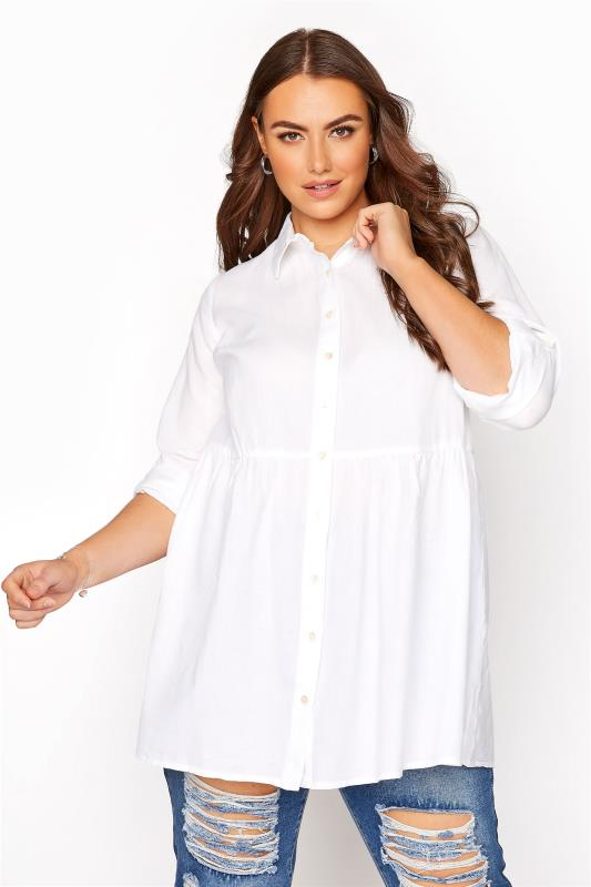Plus Size  White Peplum Shirt