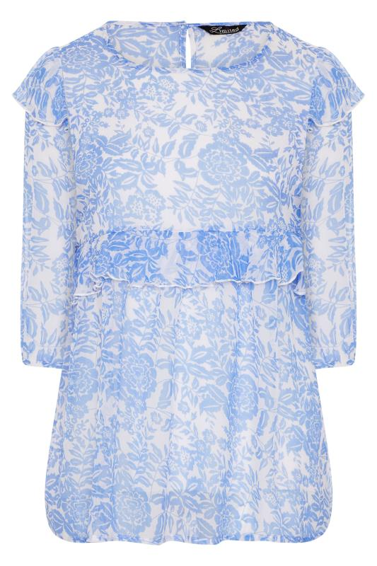 LIMITED COLLECTION Light Blue Frill Floral Blouse_F.jpg