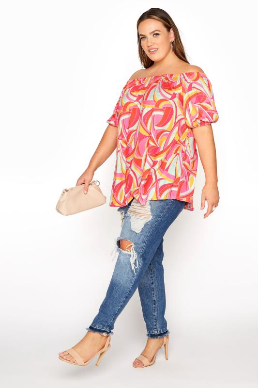 LIMITED COLLECTION Pink Abstract Bardot Top_B.jpg