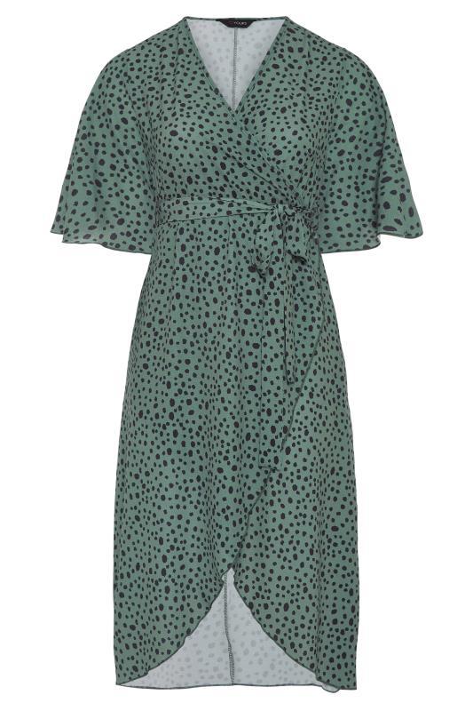 YOURS LONDON Green Dalmatian Midi Wrap Dress_F.jpg