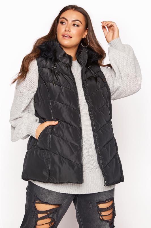 Plus Size  Black Faux Fur Hood Padded Gilet