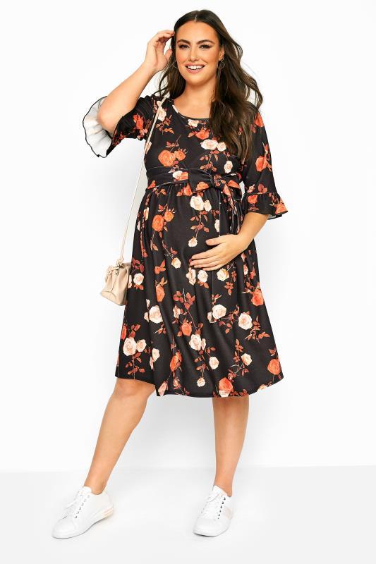 BUMP IT UP MATERNITY Black & Orange Floral Ruffle Sleeve Dress