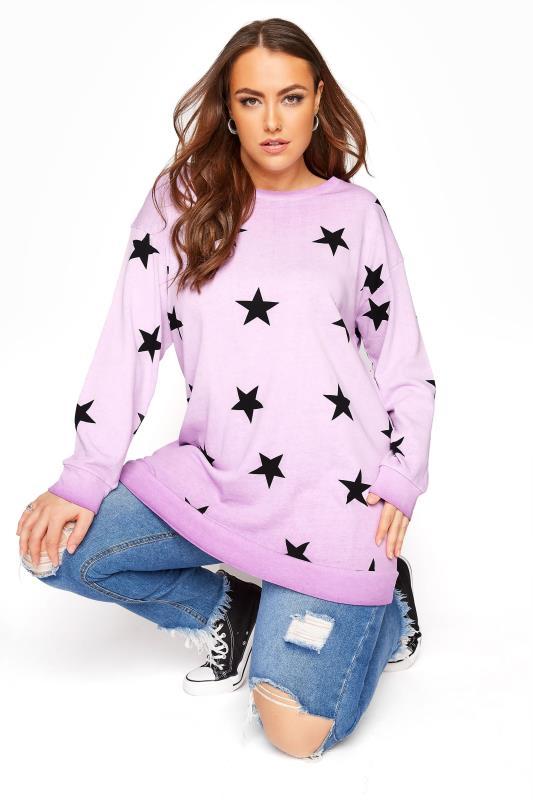 Großen Größen  Lilac Star Washed Sweatshirt