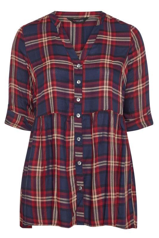 Navy & Burgundy Check Smock Shirt