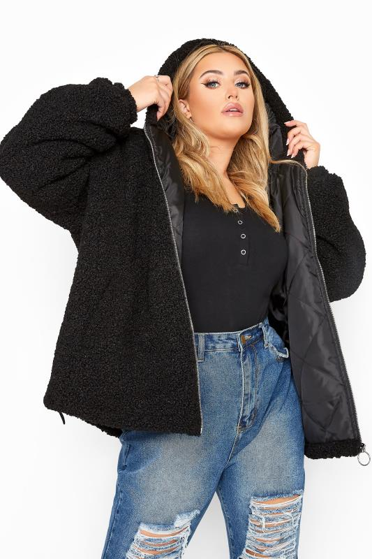 Plus Size  Black Teddy Hooded Jacket