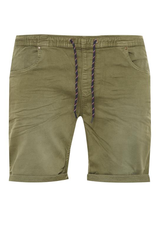 Plus Size  BLEND Khaki Elasticated Denim Shorts