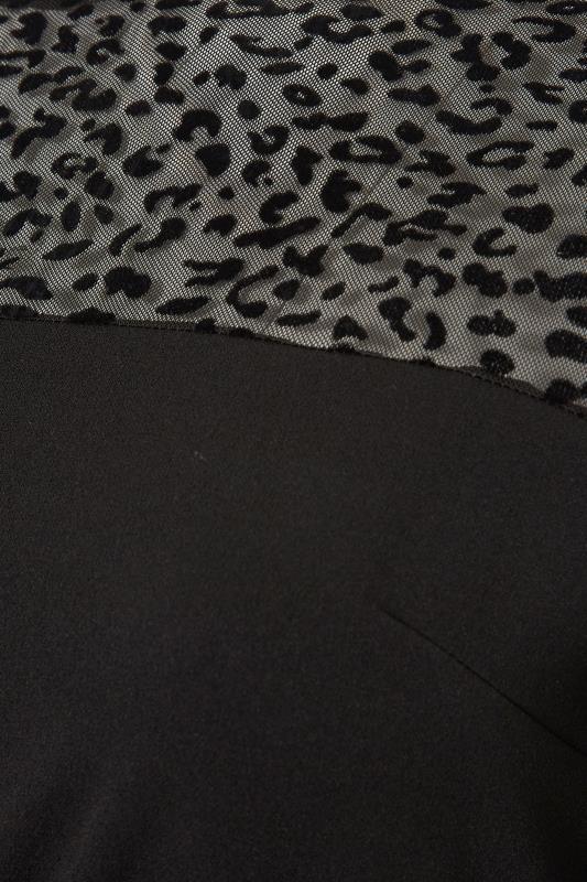 YOURS LONDON Black Animal Print Mesh Peplum Top_S.jpg