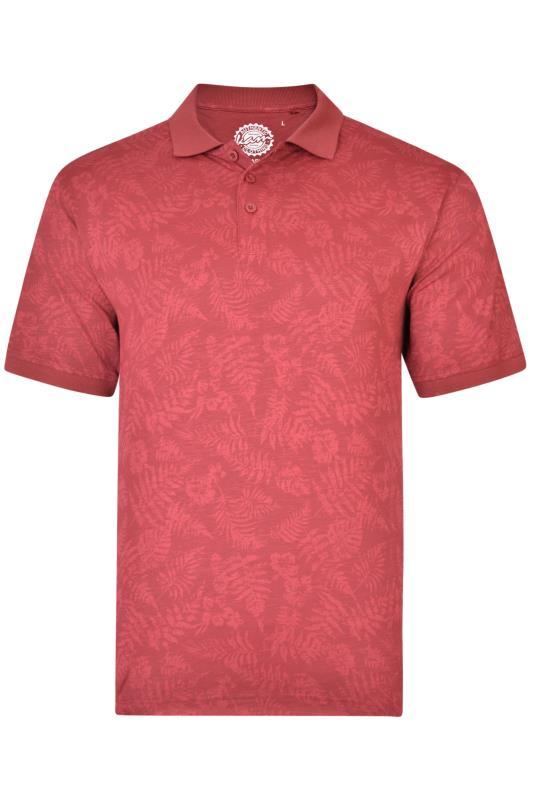 KAM Red Leaf Print Polo Shirt