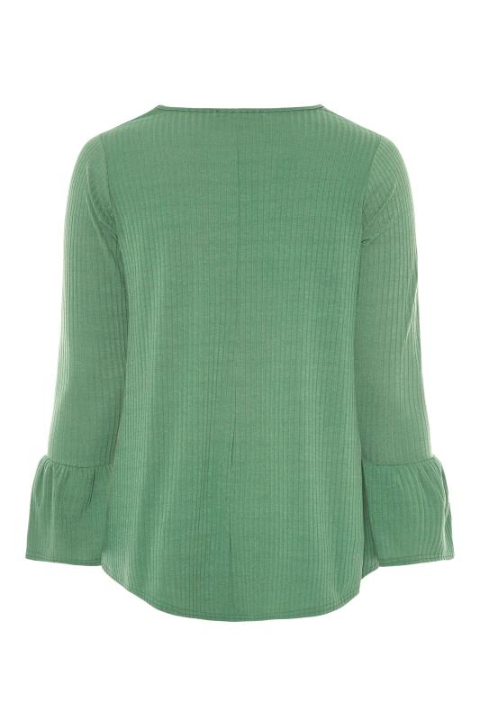LIMITED COLLECTION Sage Green Ribbed Flare Long Sleeve Top_BK.jpg