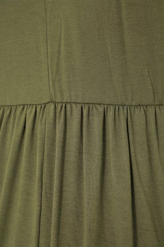 BUMP IT UP MATERNITY Khaki V-Neck Tiered Midi Dress_s.jpg