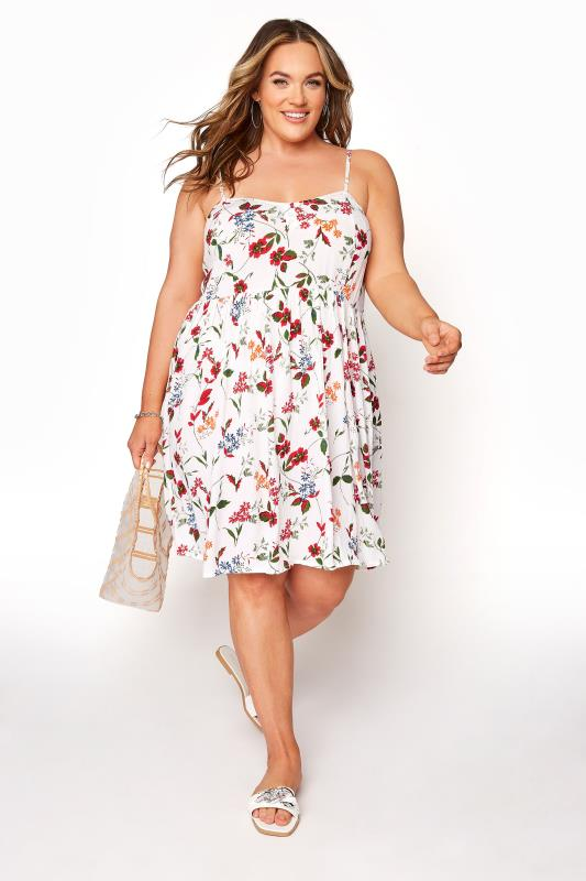 White Floral Strappy Dress