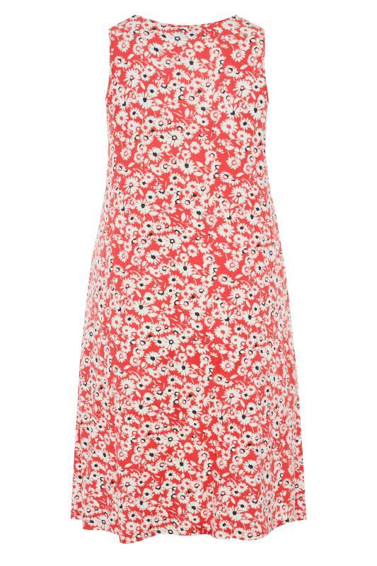 Coral Floral Sleeveless Drape Pocket Dress_BK.jpg