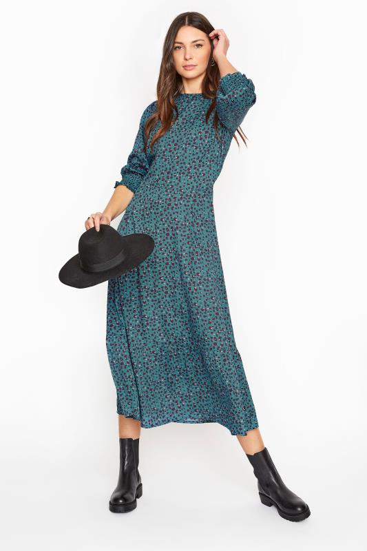 LTS Teal Blue Animal Print Smock Midi Dress