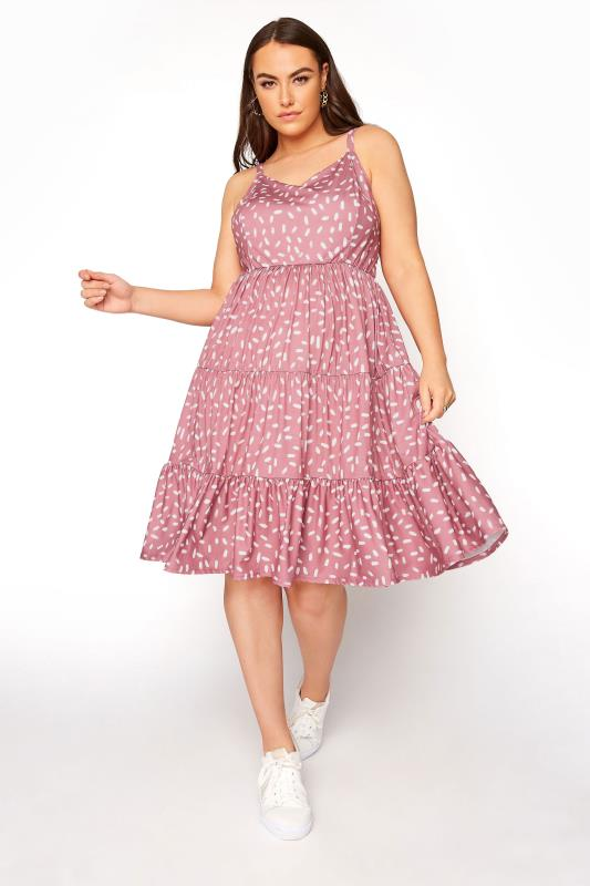 Tallas Grandes YOURS LONDON Pink Tiered Smock Dress