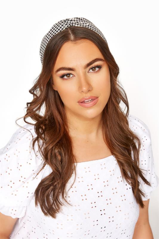 Plus Size  Black Gingham Twist Headband