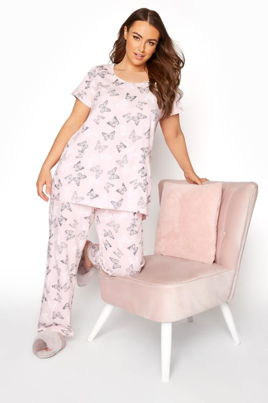 Plus Size  Blush Pink Summer Butterfly Pyjama Set