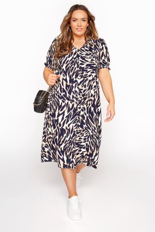Plus Size  YOURS LONDON Brown Animal Print Tea Dress