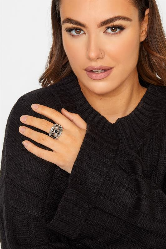 dla puszystych Black and Silver Tone Diamante Stretch Ring