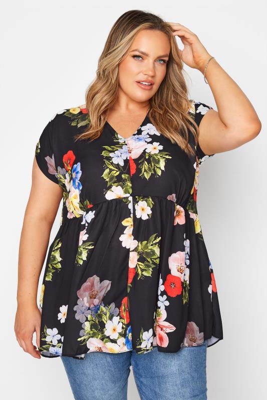 Black Floral Peplum Tunic Blouse_A.jpg