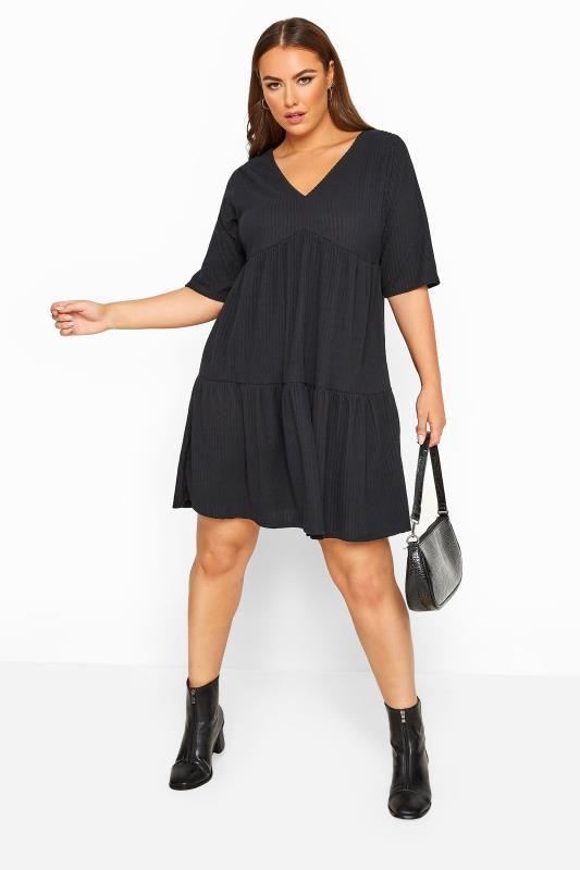 LIMITED COLLECTION Black Ribbed Tiered Smock Dress
