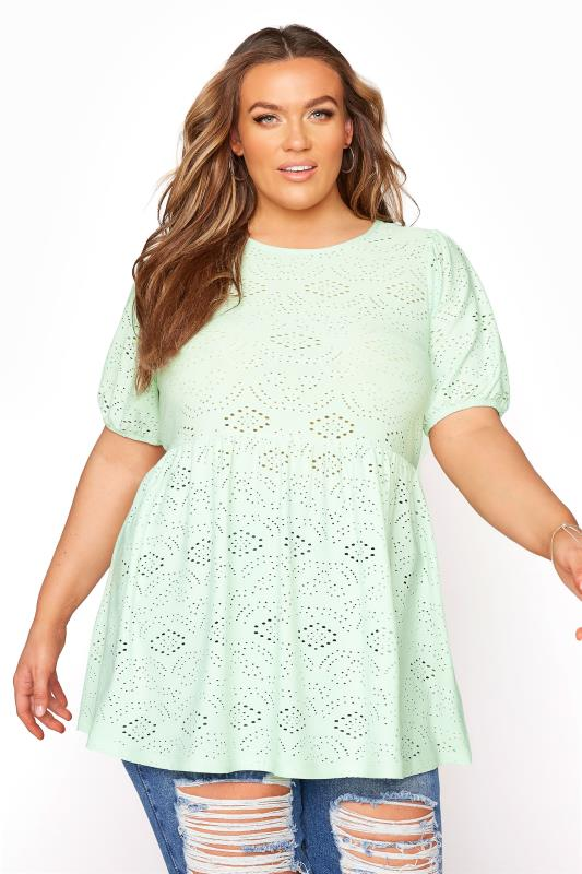 Plus Size  Mint Green Broderie Anglaise Peplum Top