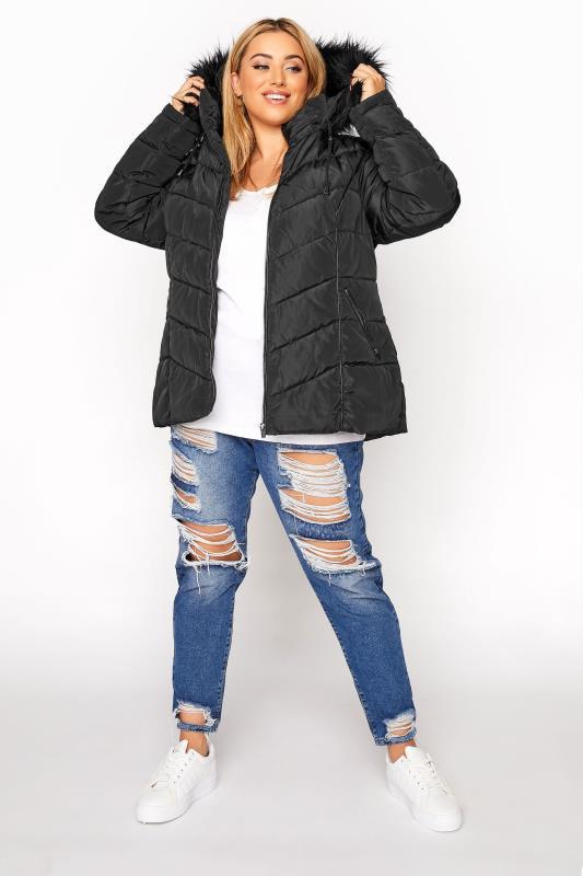 Black PU Faux Fur Trim Panelled Puffer Jacket_B.jpg