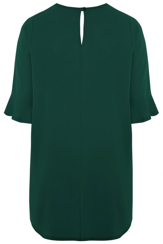 YOURS LONDON Bottle Green Flute Sleeve Tunic