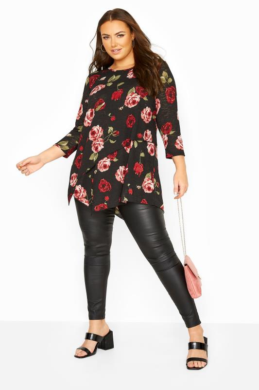 YOURS LONDON Black Rose Asymmetric Knitted Top