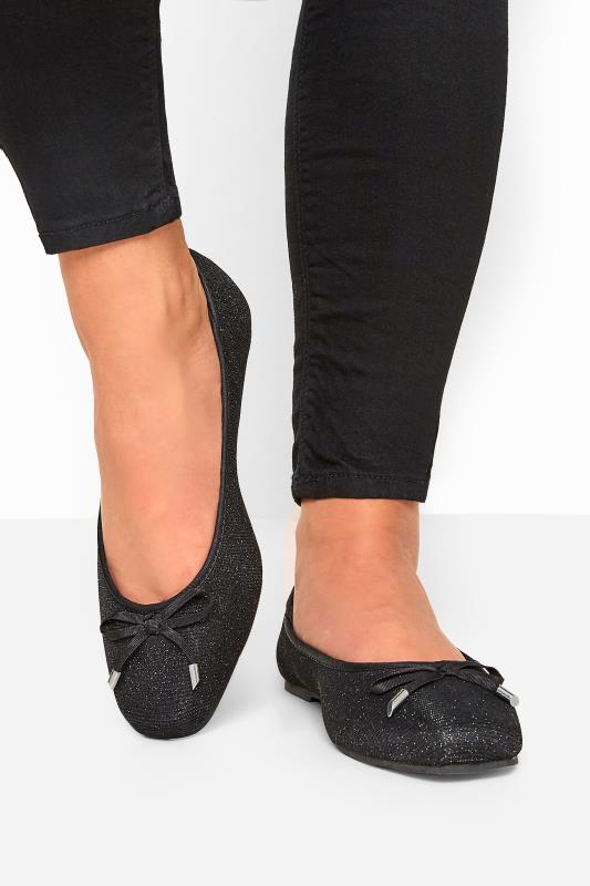 Wide Fit Ballerina Pumps  Black Glitter Bow Ballerina Pumps In Extra Wide Fit