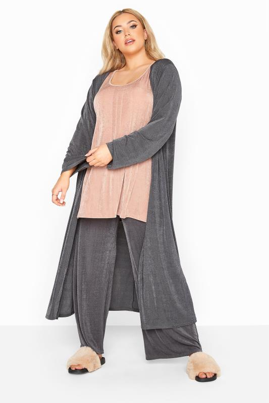 YOURS LONDON Charcoal Slinky Longline Co-ord Cardigan