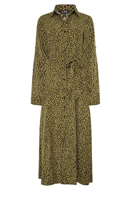LTS Khaki Animal Print Shirt Midi Dress_F.jpg