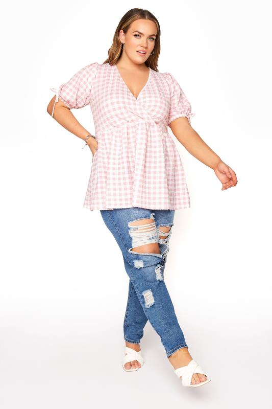 LIMITED COLLECTION Pink Gingham Wrap Front Smock Top_B.jpg