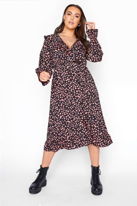 YOURS LONDON Black Dalmatian Frill Midi Dress