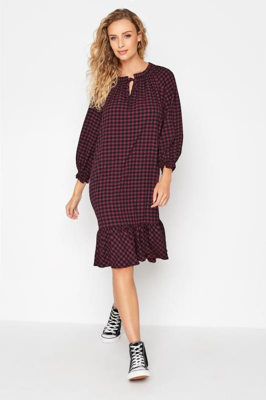 Tall  LTS Burgundy Gingham Smock Midi Dress
