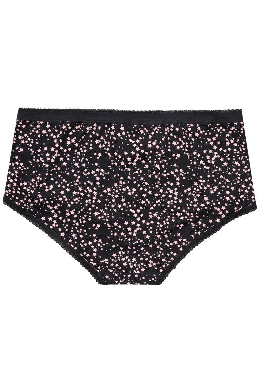 5 PACK Black & Pink Star Print Full Briefs_BK.jpg