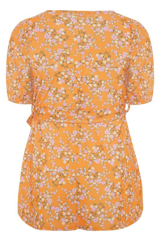YOURS LONDON Orange Ditsy Floral Puff Sleeve Wrap Top_BK.jpg
