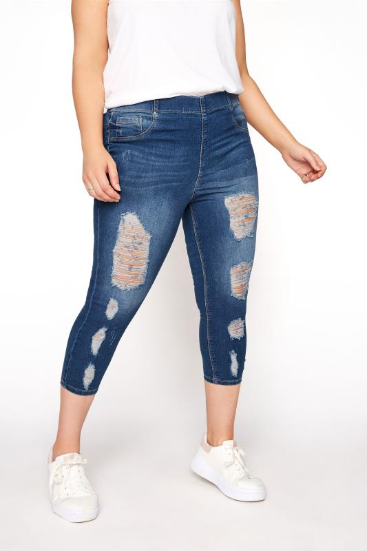 Plus Size Cropped Jeans Indigo Blue Extreme Distressed Cropped JENNY Jeggings