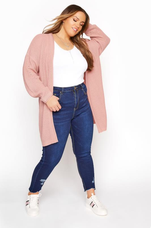 Dusky Pink Knitted Pointelle Cardigan