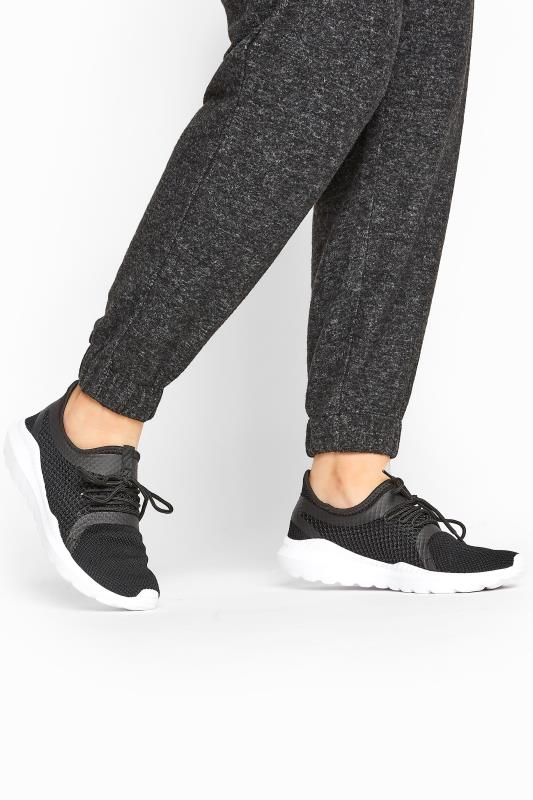 Grande Taille Black Knitted Mesh Trainers