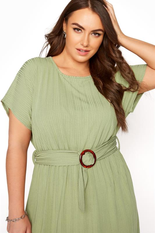 YOURS LONDON Green Ribbed Belted Dress_D.jpg