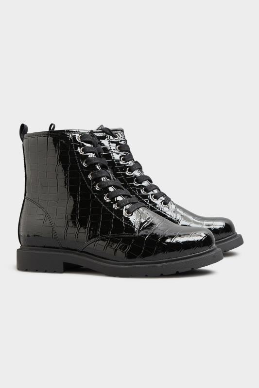 Black Patent Croc Chunky Lace Up Boots In Extra Wide Fit_C.jpg