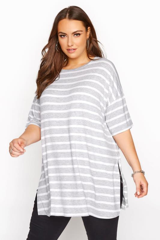 Plus Size  Grey & White Stripe Oversized T-Shirt