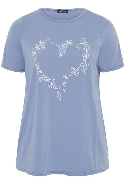LIMITED COLLECTION Dusky Blue Heart Print T-Shirt_f.jpg