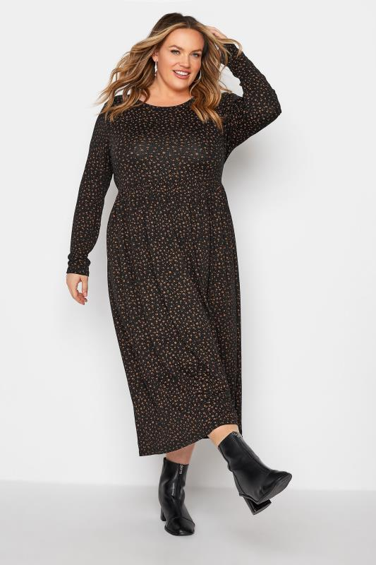 LIMITED COLLECTION Brown Ditsy Print Smock Midaxi Dress_A.jpg