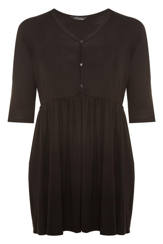 LIMITED COLLECTION Black Button Placket Peplum Top_F.jpg