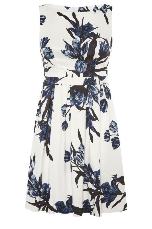 Plus Size  White Floral Print Skater Dress