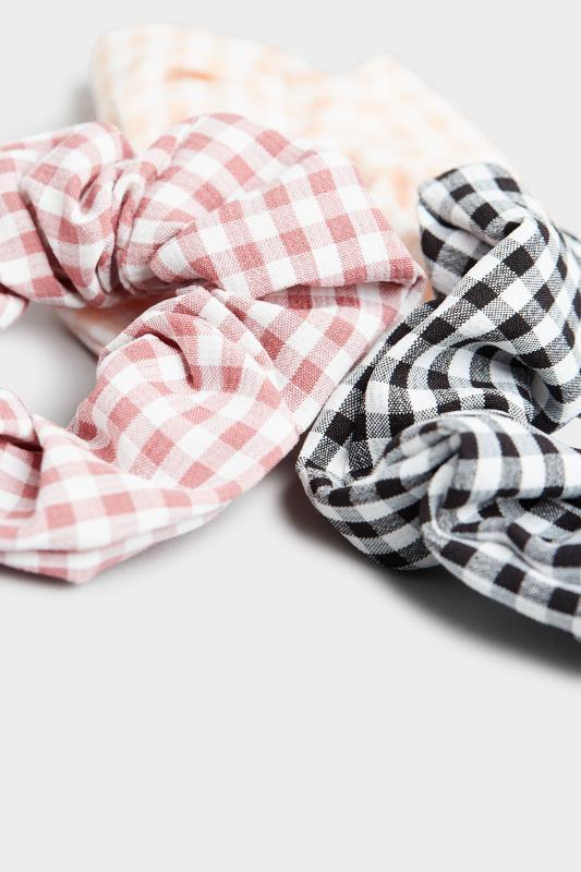 3 Pack Pink and Black Gingham Scrunchie Set_D.jpg