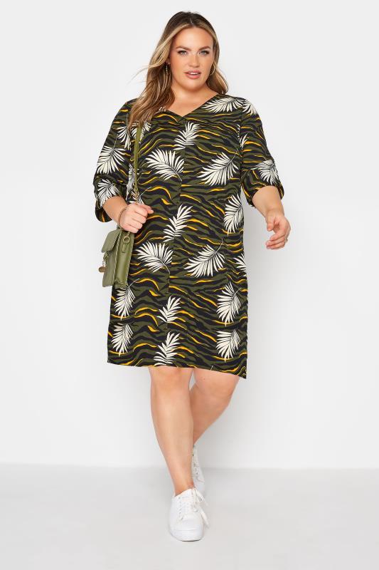 Khaki Tropical V-Neck Shift Dress_A.jpg